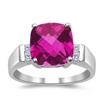 0.08  Cts Diamond & 2.12 Cts Pink Topaz Ring in 14K White Gold