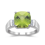 0.08 Cts Diamond & 2.04 Cts Peridot Prong-set Ring in 14K White Gold