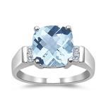 0.08 Cts Diamond & AA Aquamarine Ring in 14K White Gold - Christmas Sale