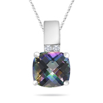 0.04 Cts Diamond & 2.12 Cts Mystic Topaz Pendant in 14K White Gold