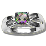 0.03 Cts Diamond & 0.89 Cts Mystic Topaz Ring in 14K White Gold