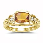0.03 Cts Diamond & 7x5 mm Barrel-Cut Citrine Ring in 14K Yellow Gold