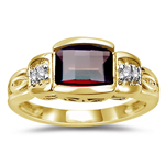 0.03 Cts Diamond & 7x5 mm Barrel-Cut Garnet Ring in 14K Yellow Gold
