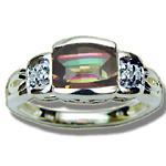0.03 Cts Diamond & 7x5 mm Barrel-Cut Mystic Topaz Ring in 14K Yellow Gold