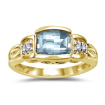 0.03 Cts Diamond & 7x5 mm Barrel-Cut Aquamarine Ring in 14K Yellow Gold