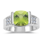 0.16 Cts Diamond & 2.04 Cts Peridot Ring in 14K White Gold