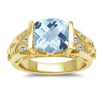 0.28 Cts Diamond & 1.58-2.02 Cts Aquamarine Ring in 14K Yellow Gold