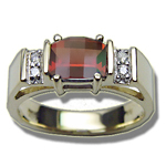 0.06 Cts Diamond & 7x5 mm Barrel-Cut Garnet Ring in 14K Yellow Gold