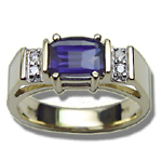 0.06 Cts Diamond & 7x5 mm Barrel-Cut Iolite Ring in 14K Yellow Gold