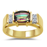 0.06 Cts Diamond & 7x5 mm Barrel-Cut Mystic Topaz Ring in 14K Yellow Gold