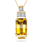 Diamond and Citrine Pendant in 14K Yellow Gold