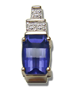 0.05 Cts Diamond & 7x5 mm Iolite Pendant in 14K Yellow Gold