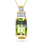0.05 Cts Diamond & 7x5 mm Peridot Pendant in 14K Yellow Gold