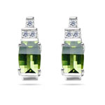 0.09 Ct Diamond & 7x5 mm Barrel-Cut Barrel Peridot Earrings- 14KW Gold