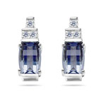0.09 Cts Diamond & 7x5 mm Barrel-Cut Aquamarine Earrings in 14KW Gold