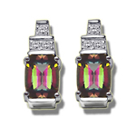 0.09 Ct Diamond-7x5 mm Barrel-Cut Mystic Fire Topaz Earrings-14KW Gold