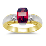 0.10 Cts Diamond & 7x5 mm Barrel-Cut Garnet Ring in 14K Two Tone Gold