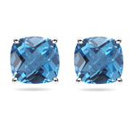 4.24 Ct 8 mm Cush Check Swiss Blue Topaz Scroll Studs-14K White Gold
