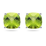 4.08 Ct 8 mm Cush Check Peridot Scroll Stud Earrings in 14K White Gold