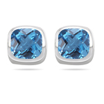 4.24 Ct 8 mm Cush Check Swiss Blue Topaz Stud Earrings-14K White Gold