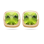 4.08 Cts of 8 mm Cush Check Peridot Stud Earrings in 14K Yellow Gold