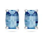 7x5 mm Barrel-Cut Swiss Blue Topaz Scroll Earrings in 14K White Gold