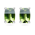7x5 mm AA Barrel-Cut Barrel Peridot Scroll Earrings in 14K White Gold