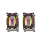 7x5 mm Barrel-Cut Barrel Mystic Fire Topaz Scroll Earrings - 14KW Gold - Christmas Sale