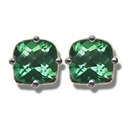 1.78 Cts of 6 mm AA Cushion Checker Board Mystic Green Topaz Stud Earrings in 14K White Gold