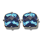 1.78 Cts of 6 mm AA Cushion Checker Board Mystic Blue Topaz Stud Earrings in 14K White Gold