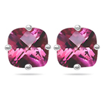 1.78 Cts of 6 mm AA Cushion Checker Board Mystic Pink Topaz Stud Earrings in 14K White Gold