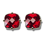 1.78 Ct 6 mm AA Cush Check Mystic Red Topaz Stud Earrings in 14KW Gold
