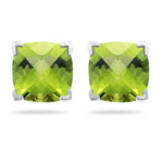 2.04 Ct 6 mm AA Cush Check Peridot Scroll Earrings in 14K White Gold