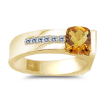 Diamond and Citrine Ring in 14K Yellow Gold