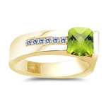 0.09 Cts Diamond & 1.02 Cts Peridot Ring in 14K Yellow Gold