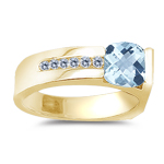 0.09 Cts Diamond & 0.92 Cts Aquamarine Ring in 14K Yellow Gold