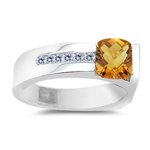 0.09 Cts Diamond & 1.59 Cts Citrine Ring in 14K White Gold