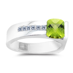 0.09 Cts Diamond & 1.02 Cts Peridot Ring in 14K White Gold