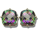 4.24 Cts of 8 mm AA Cushion Checker Board Mystic Topaz Stud Earrings in 14K White Gold