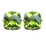 4.08 Ct 8 mm AA Cush Check Peridot Stud Earrings in 14K Yellow Gold