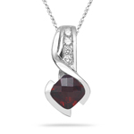 0.10 Cts Diamond & 1.20 Cts Garnet Pendant in 14K White Gold