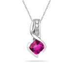 0.10 Cts Diamond & 5.20 Cts Pink Topaz Pendant in 14K White Gold
