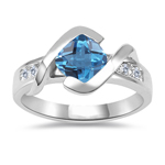 0.18 Cts Diamond & 0.89 Cts AAA Swiss Blue Topaz Ring in 14K White Gold