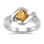 0.18 Cts Diamond & 0.67 Cts Citrine Ring in 14K White Gold