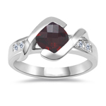 0.18 Cts Diamond & 1.20 Cts of 6 mm AAA Garnet Ring in 14K White Gold - Christmas Sale