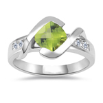 0.18 Cts Diamond & 1.02 Cts AAA Peridot Ring in 14K White Gold