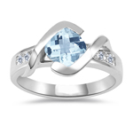 0.18 Cts Diamond & 0.92 Cts AA Aquamarine Ring in 14K White Gold