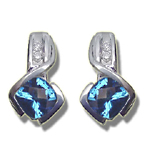 0.10 Cts Diamond & 1.04 Cts 5 mm AA Cushion Checker Board Swiss Blue Topaz Earrings in 14K White Gold