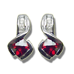 0.10 Cts Diamond & 1.40 Cts Garnet Earrings in 14K White Gold