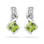 0.10 Ct Diamond & 1.32 Ct 5mm AA Cush Check Peridot Earrings-14KW Gold